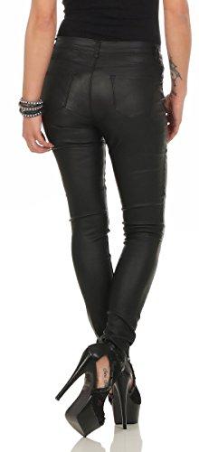 10114 Fashion4Young Damen Röhrenhose Treggings Slimline Leder-Look Lederimitat Damenhose Wetlook Schwarz