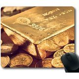Tappetino per mouse con mattoni di monete d' oro e alcuni antiscivolo in gomma neoprene standard size 22,9x 17,8cm x 1/8Mousepad