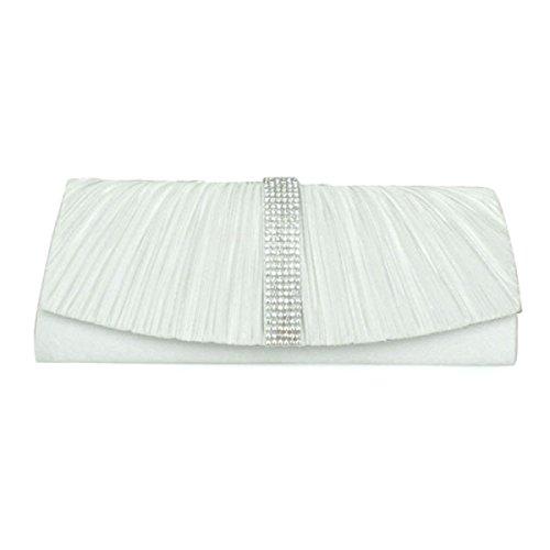 Seide Gefaltet Mode Multifunktions Bankett Tasche New Clutch Schultertasche White