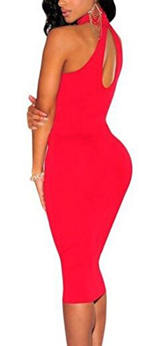 SunIfSnow - Chemise de nuit spécial grossesse - Uni - Sans Manche - Femme Rouge