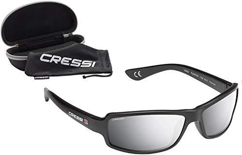 Cressi Ninja Floating, Occhiali Galleggianti Sportivi da Sole Polarizzati con Protezione UV 100% Uomo, Nero/Lenti Specchiate, Taglia Unica