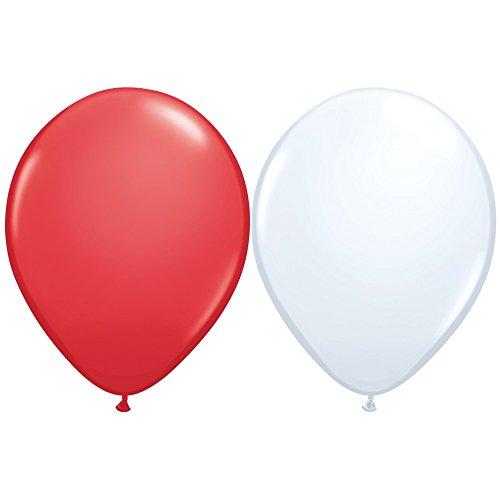 x Luftballons Rot & Weiß Ø 25 cm - Karnevalsangebot ()