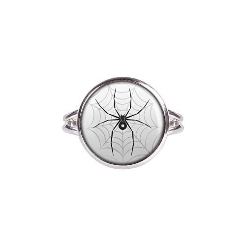 Mylery Ring mit Motiv Schwarze Spinne Stern Netz silber 14mm (Bitsy Itsy Schmuck)