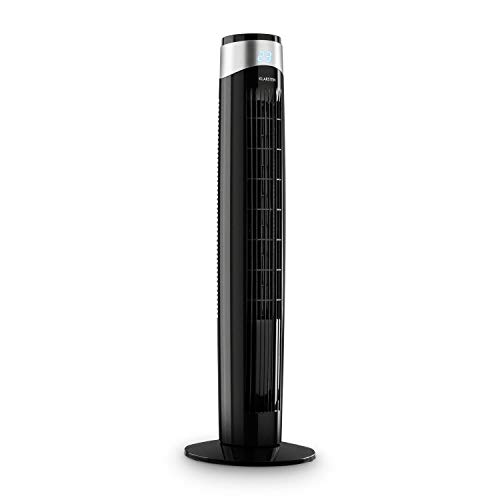 Klarstein Storm Tower Ventilator Turmventilator (3 Windarten, 6 Geschwindigkeiten, LED-Display, 55 Watt, Tragemulde, Touch-Bedienfeld, zuschaltbare Oszillation bis 80°, inkl. Fernbedienung) schwarz