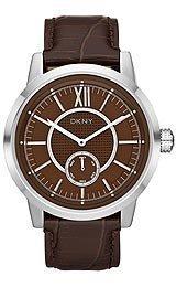 DKNY NY1521 - Reloj para hombres, correa de cuero color marrón