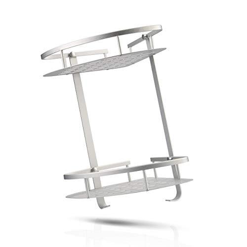 GREENROXX Duschregal aus stabilem Aluminium | Duschablage ohne Bohren oder mit | rostfreies Badregal | einfache Montage | Eckregal zum Kleben geeignet