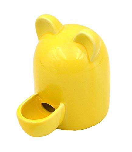 MONMOB Keramik-Automatischer Haustier-Wasser-Futterspender für Vögel mit süßen Ohren, gelb (Automatische Haustier-wasser)