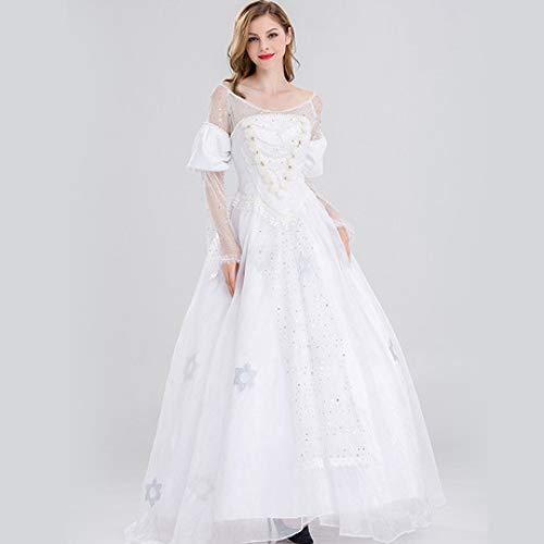 YyiHan Halloween Kostüm, Alice im Wunderland White Queen Anne Hathaway Kostüm Prinzessin Kleid Cosplay Makeup Halloween-Partei-Kostüm Stage Performance Kostüm