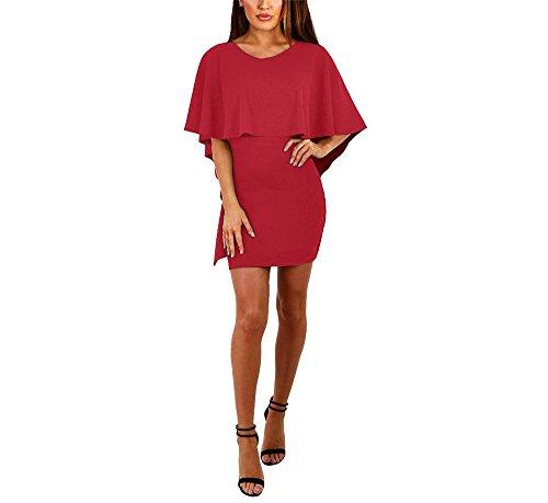 hippolo Damen Fashion Kleid Frauen Kleid CUPCAKE KLEID Umhang Rücken Bandage Kleid weiblich Kleid rot XL