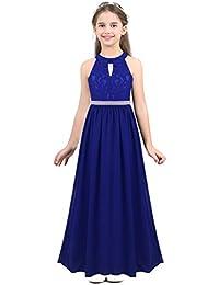 fd044fd35 inhzoy Vestido de Princesa Encaje para Niña Vestido Largo de Fiesta Boda  Dama de Honor Cuello