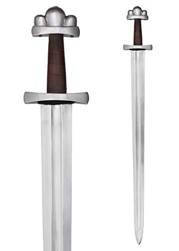 Battle-Merchant Wikingerschwert (Nationalmuseum Kopenhagen) mit Holz-Lederscheide 98cm - Wikinger Mittelalter Schwert echt Metall Erwachsene Vikings