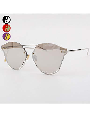 MOMOQU Sun Glasses Untere Hälfte Rahmen Hohle Sonnenbrille Weibliche Flut Transparente Farbige Brille Retro Super Großen Rahmen Sonnenbrille Männliches Quadratisches Gesicht, D