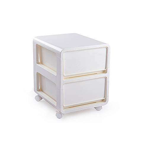 YZH Schubladen-Kunststoff Gesteppte Lagerschrank, schmaler Schrank mit Roller Nachttisch, zweistufige Lagerung, Snack, Aufbewahrungsbox, Schrank, einfach und stilvoll (weiß)
