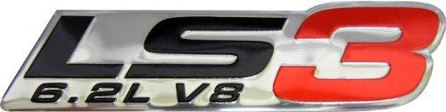 LS3 6.2L V8 Red Engine Emblem Badge Nameplate Highly Poled Aluminum Chrome Silver for GM General Motors Performance Chevy Corvette C6 ZR1 Cam SS RS G8 GXP VXR8 (C6-cam)