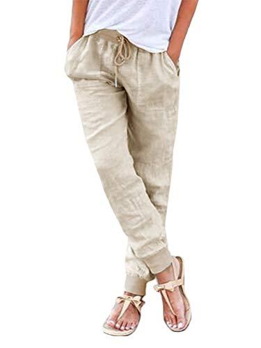ORANDESIGNE Damen Leinenhose 7/8 Länge Leichte Sommerhose Strandhose Weich Bequem Loose Einfarbig Freizeithose Jogginghose Mit Kordelzug Beige Small