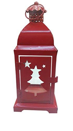 Kraftz/® en m/étal Rouge lampe Lanterne Bougie chauffe-plat Design 28/cm avec motif sapin de No/ël pour No/ël//d/écoration de f/ête