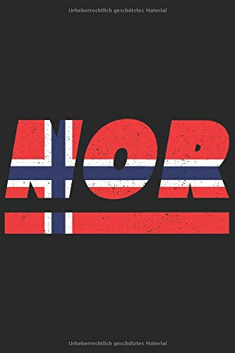 NOR: Norwegen Notizbuch mit punkteraster 120 Seiten in weiß. Notizheft mit der norwegischen Flagge
