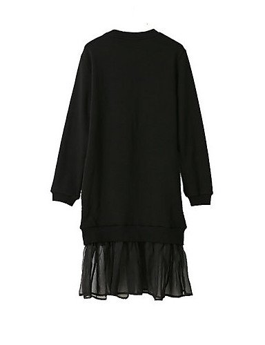 PU&PU Robe Aux femmes Ample Street Chic,Mosaïque Col Arrondi Mi-long Polyester BLACK-L