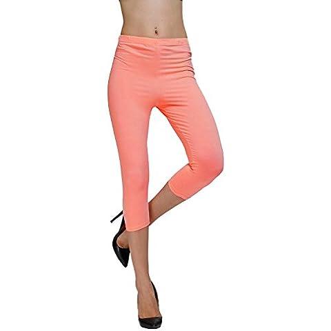 Diamondkit cotone elasticizzato Capri Crop Seamed Leggings Tights Rosa rosso