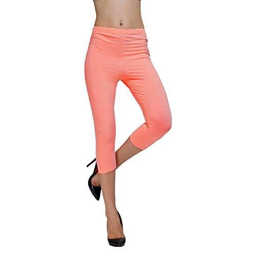 DIAMONDKIT cotton stretch capri legging de sport doublé pour femme Rouge - Rot - Korallenrot