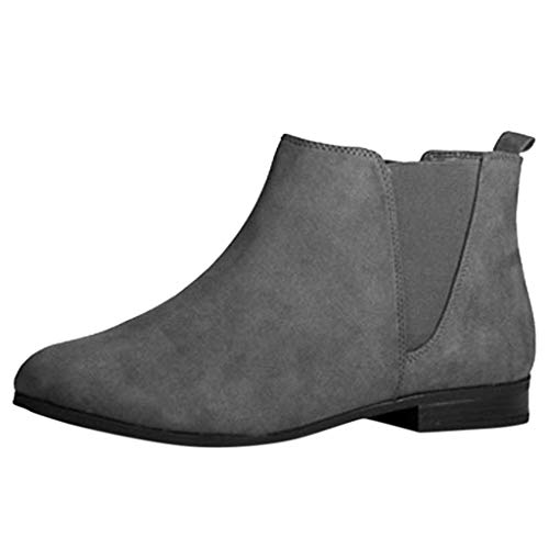 Yowablo Damen Kurzschaft Stiefel Gummistiefel Gummistiefeletten Regenstiefel Chelsea Boots mit Flache Ferse Abgerundete Zehe (36 EU,Grau)