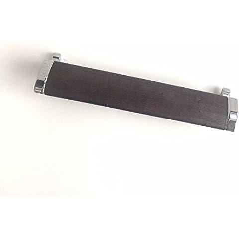 Maniglia moderna per cassetti mobili armadi cucine finitura terminali cromo e presa wenge' con distanza tra i fori 192 mm, cod. 775