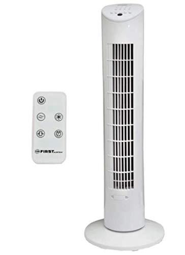 TZS First Austria - 60 Watt 79cm Säulenventilator mit Fernbedienung   Sleep-Modus   Nature-Modus   7,5 Std Timer   Oscillation   Duftfach   Turmventilator   Towerventilator   maximal nur 51 dB, weiß