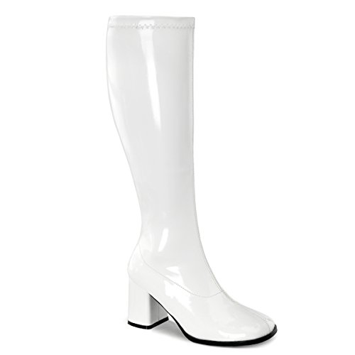Funtasma GOGO-300WC Damen Retro Stiefel, Stretch Lack Weiß, EU 41.5 (US 11)
