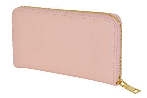 Portafoglio Donna Piccolo Nero, Elegante, Spazioso, EcoPelle Con cerniera zip Portamonete (Rosa)