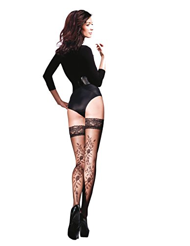 Lace Top Hold-ups with Floral Pattern