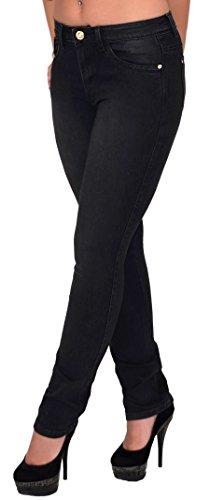 ESRA Damen Jeans High Waist Röhrenjeans Hochbund Jeans Hose bis Übergröße Gr. 48, 50, 52# J21