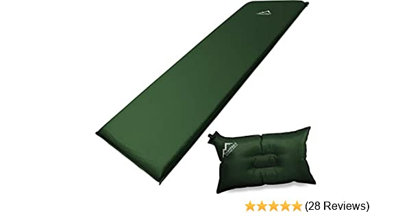 normani Selbstaufblasbare Luftmatratze inkl Kissen zum Outdoor Camping Farbe Oliv Gr/ö/ße 198 x 68 x 9 cm