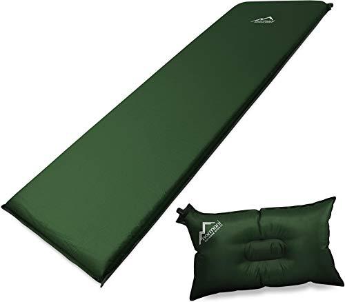 normani Selbstaufblasbare Luftmatratze inkl. Kissen zum Outdoor Camping Farbe Oliv Größe 197 x 64 x 7 cm