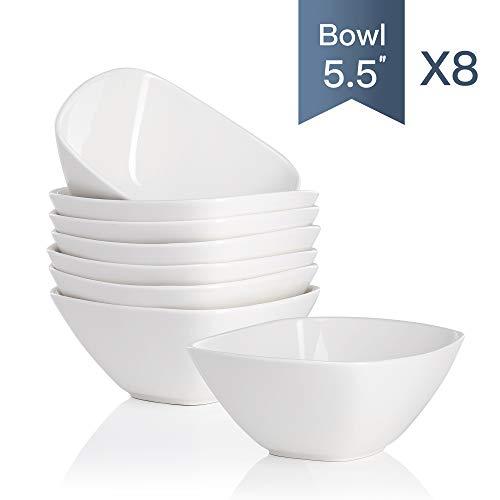 """MALACASA, serie Regular, Juego de Cuencos de 8 piezas, 5.5\"""" Tazón de Porcelana China, Cuenco para Cereales Sopa Cuenco de Arroz (Juego de 8)"""