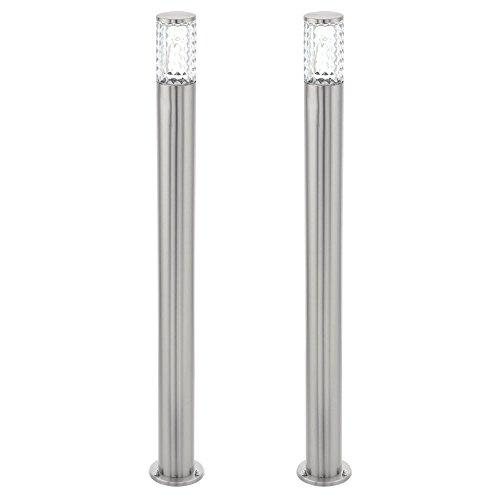 Conjunto de 2 LED lámparas de pie al aire libre vidrio con textura de iluminación lámparas de pie camino del jardín