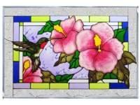 Kolibri Hibiskus blau rot Art Glasscheibe Wand Fenster hängen Suncatcher 14x 20