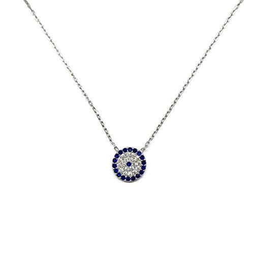 Mystic Jewels - Plata de Ley 925 Collar con Colgante de Ojo Turco - Redondo con circonita cubica (Plata)
