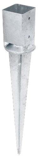 erdhuelsen GAH-Alberts 208110 Einschlag-Bodenhülse für Vierkantholzpfosten, mit verstellbarem Topf - feuerverzinkt, 91 x 91 mm / 750 mm