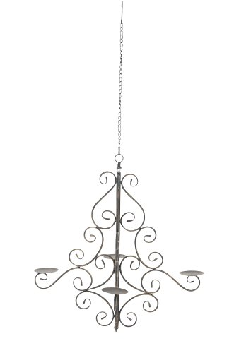 CLP 4-flammiger Kerzen-Kronleuchter MIRABELLA aus Eisen I Antiker Kerzenleuchter mit kunstvollen...