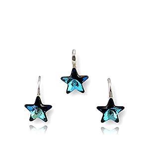 Crystals & Stones *STERN* *Bermuda Blue* Mädchen Schmuck Set *Schön Schmuckset mit Kristallen von Swarovski Elements – Wunderbare Ohrringe und Halskette mit Geschenkbox