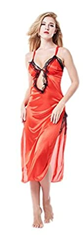 Wiftly Femmes Lingerie Sexy Erotique Transparente Vêtements de Nuit Robe Ensemble push up Grande Taille Babydoll (Rouge, XL)