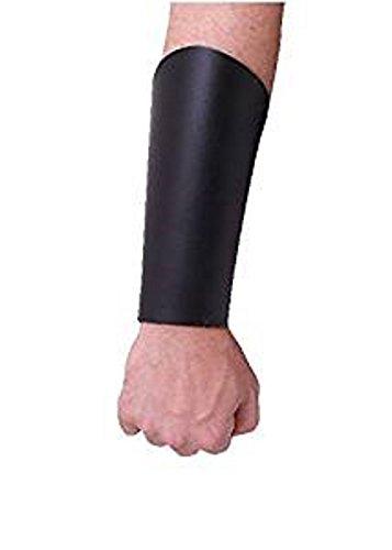 Battle Merchant - Guardabrazos de piel (con banda de piel), color negro