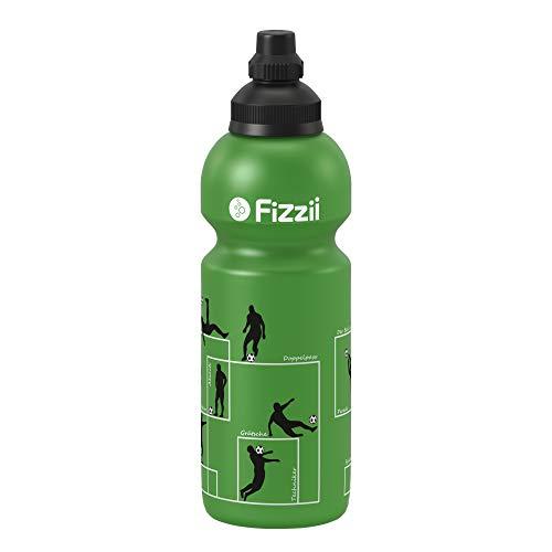 Fizzii Kinder- und Freizeittrinkflasche 600 ml (auslaufsicher bei Kohlensäure,  schadstofffrei, spülmaschinenfest, Motiv: Spielzüge) - 7,5% Der Zähne