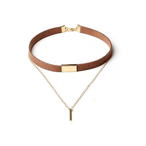 Tpocean Braun Wildleder Dual Layer Retro Choker Halskette mit Gold Bar Anhänger für Frauen (Designer Kostüm Definition)