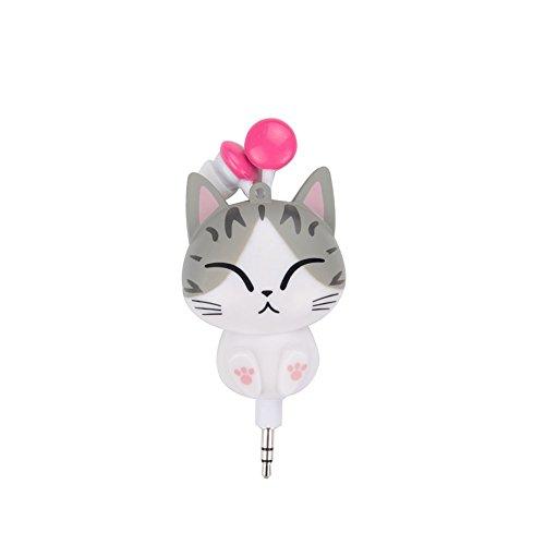 YMCHE Kawaii Cat Cartoon retrattile flessibile auricolare in-ear cuffie