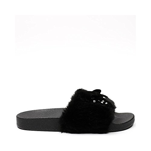 Ideal Shoes - Claquettes avec fourrure synthétique et nœud strassé Fijia Noir
