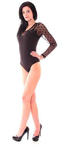 Easy Young Fashion Damen Body Langarm Rundhals mit transparenter Spitze uni einfarbig Schwarz Pünktchen