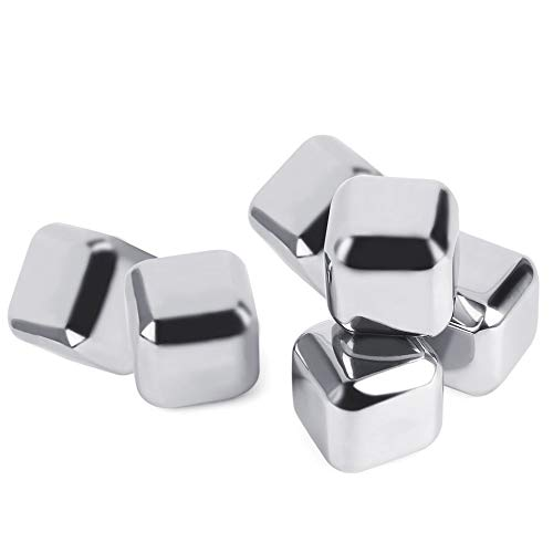 Silver Cube (6 pcs Silver Reusable Non-Toxic Environmentally Safe Stainless Steel Wine Ice Cooling Cubes All Chill No Melt)