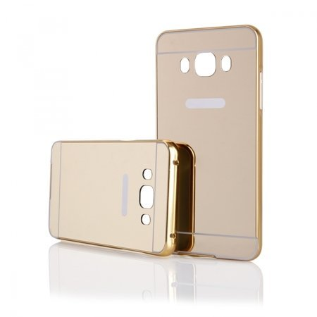 Original Rapid Zone Extra Luxury Metal Bumper + Mirror Back Cover Case For Samsung Galaxy J2 2016 (J210F) – Golden