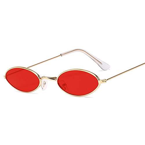 Preisvergleich Produktbild MJDABAOFA Sonnenbrillen, Legierung Ovale Sonnenbrille Frauen Gold Frame Rote Linse Spiegel Gläser Für Männer Ozean Objektiv Mit Kleinem Rahmen Lentes